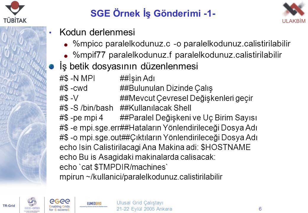 Ulusal Grid Çalıştayı 21-22 Eylül 2005 Ankara6 SGE Örnek İş Gönderimi -1- Kodun derlenmesi %mpicc paralelkodunuz.c -o paralelkodunuz.calistirilabilir