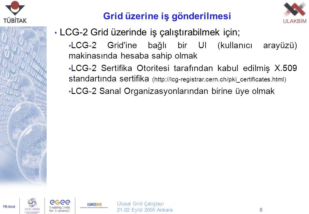 Ulusal Grid Çalıştayı 21-22 Eylül 2005 Ankara9 Grid üzerinde hesabınızın olduğu UI makinasına giriş yaptıktan sonra, size ait bilgilerin güvenliği için grid üzerindeki diğer makina veya servislerle iletişiminizde almış olduğunuz sertifika kullanılır.