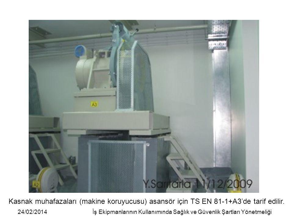 24/02/2014İş Ekipmanlarının Kullanımında Sağlık ve Güvenlik Şartları Yönetmeliği Kasnak muhafazaları (makine koruyucusu) asansör için TS EN 81-1+A3'de