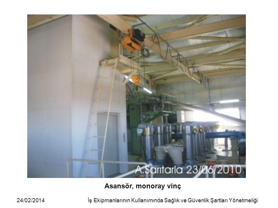 24/02/2014İş Ekipmanlarının Kullanımında Sağlık ve Güvenlik Şartları Yönetmeliği Asansör, monoray vinç
