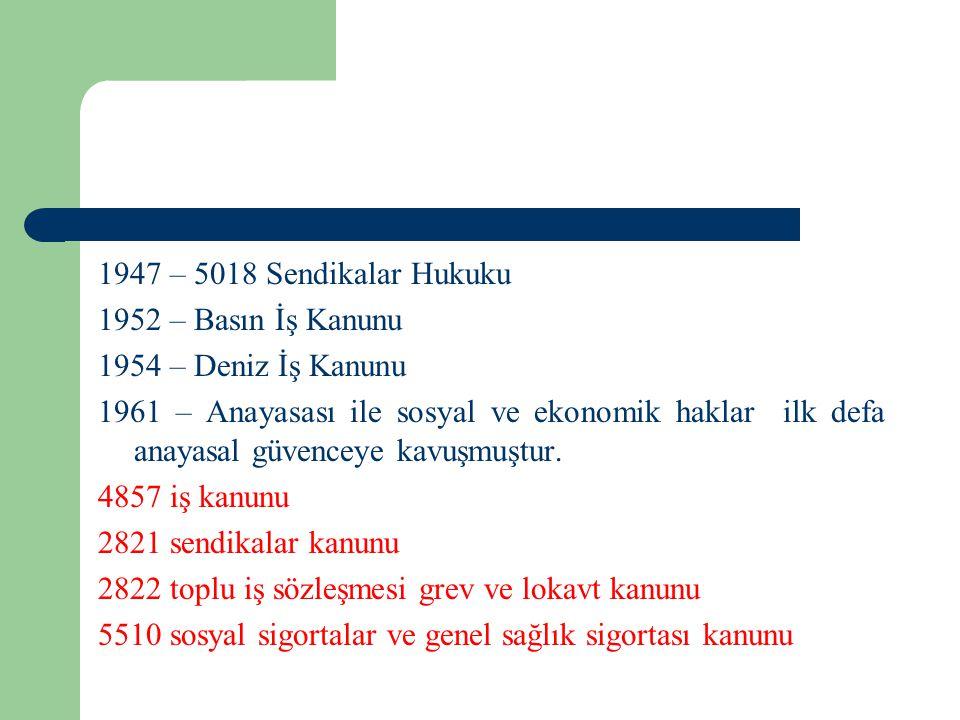 1947 – 5018 Sendikalar Hukuku 1952 – Basın İş Kanunu 1954 – Deniz İş Kanunu 1961 – Anayasası ile sosyal ve ekonomik haklar ilk defa anayasal güvenceye