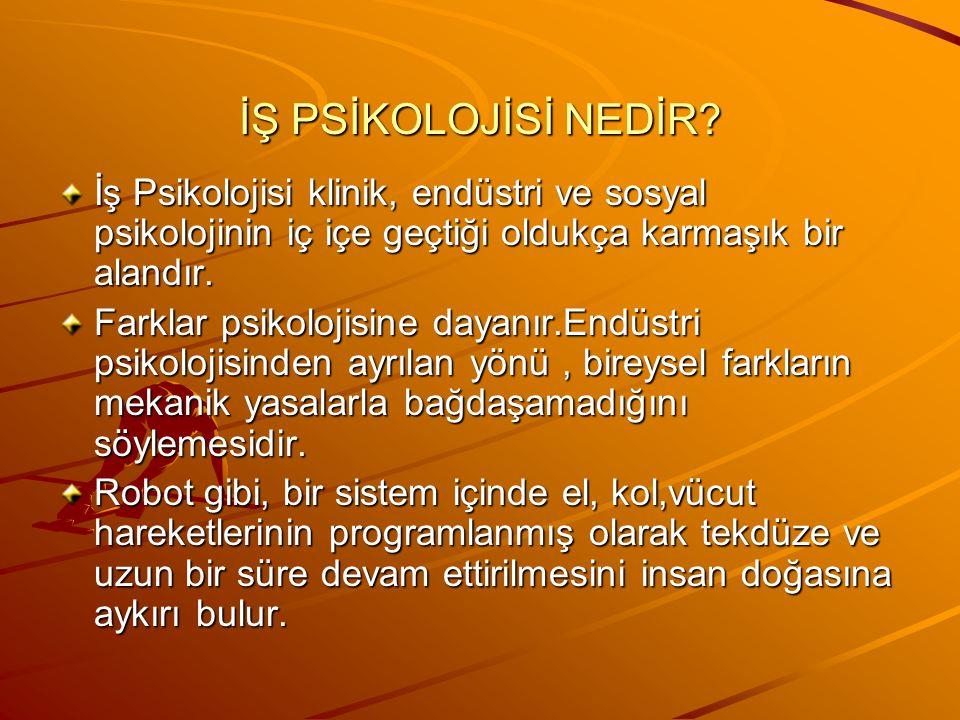 İŞ PSİKOLOJİSİ NEDİR.