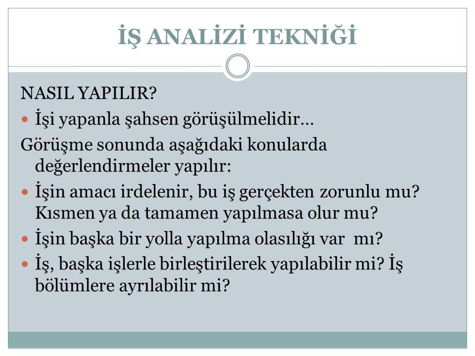 İŞ ANALİZİ TEKNİĞİ NASIL YAPILIR.