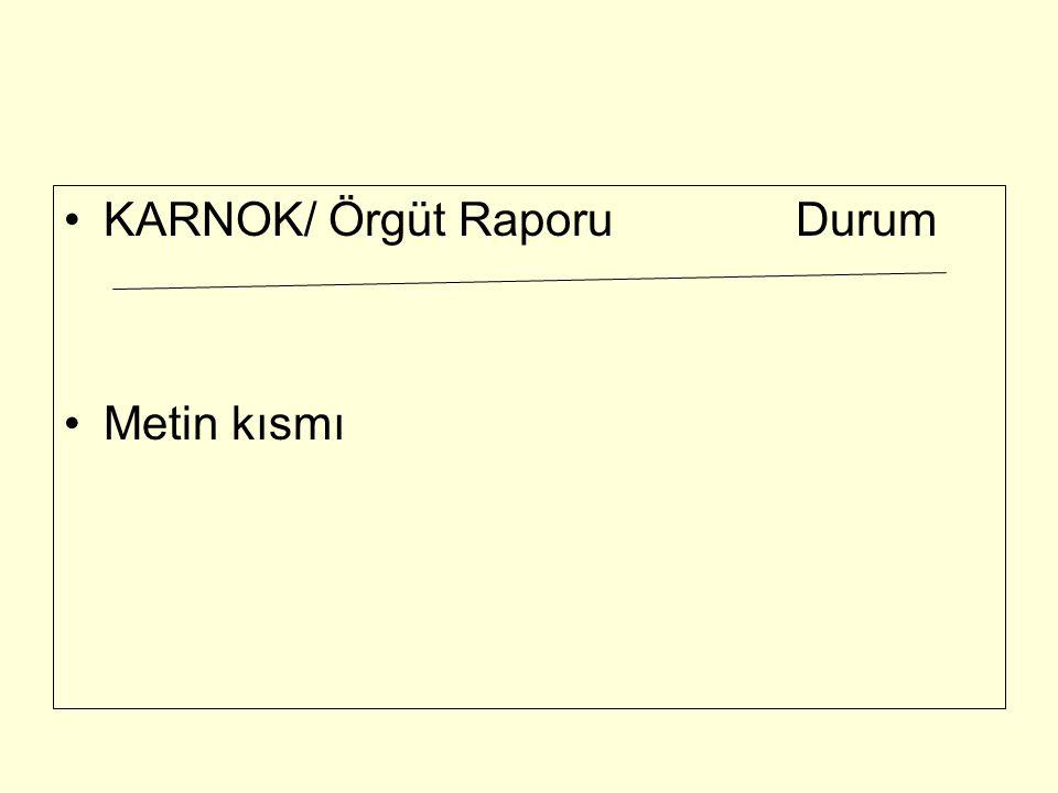 KARNOK/ Örgüt Raporu Durum Metin kısmı