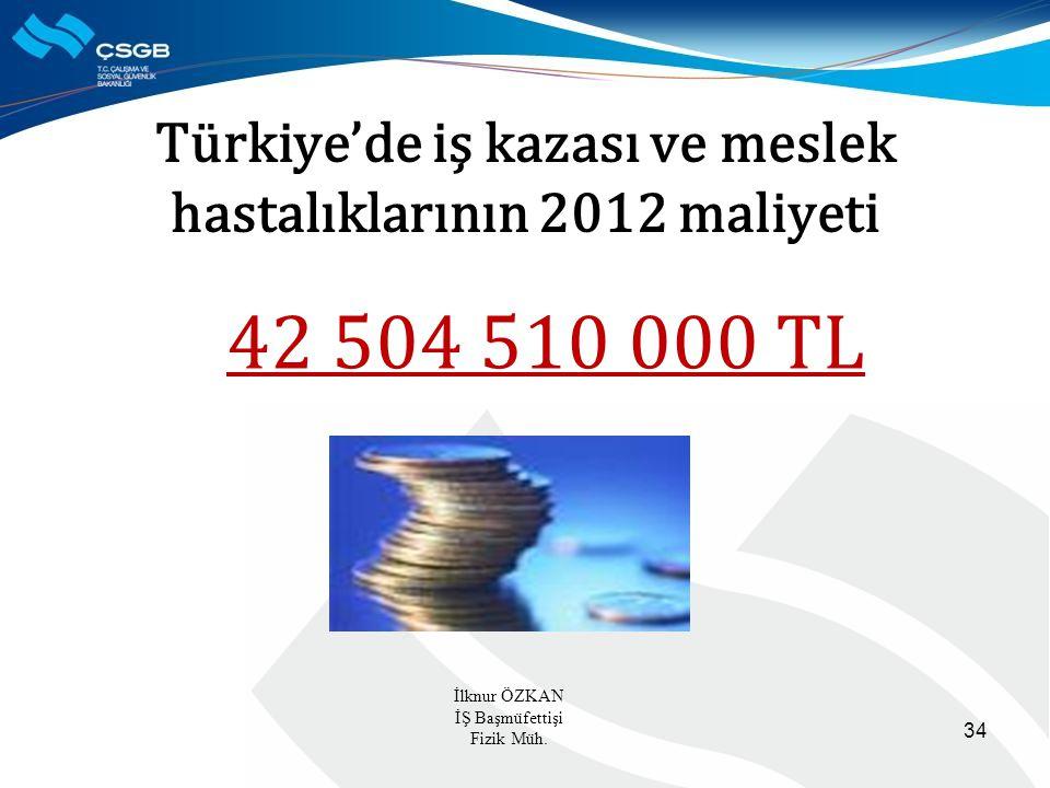 Türkiye'de iş kazası ve meslek hastalıklarının 2012 maliyeti 42 504 510 000 TL 34 İlknur ÖZKAN İŞ Başmüfettişi Fizik Müh.