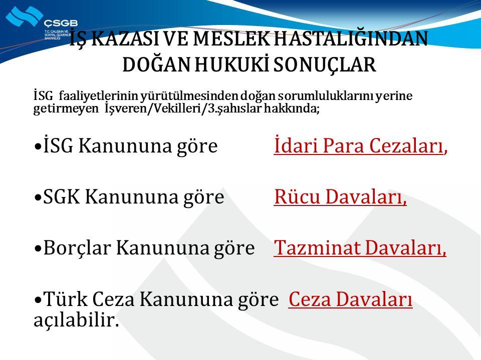 İSG faaliyetlerinin yürütülmesinden doğan sorumluluklarını yerine getirmeyen İşveren/Vekilleri/3.şahıslar hakkında; İSG Kanununa göre İdari Para Cezaları, SGK Kanununa göreRücu Davaları, Borçlar Kanununa göre Tazminat Davaları, Türk Ceza Kanununa göre Ceza Davaları açılabilir.