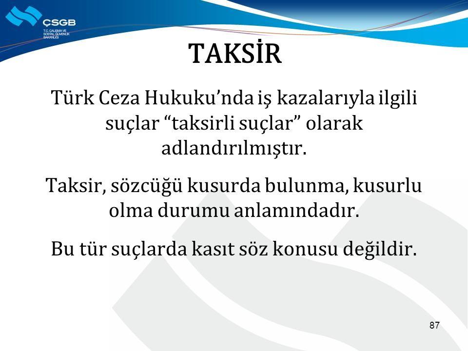 TAKSİR Türk Ceza Hukuku'nda iş kazalarıyla ilgili suçlar taksirli suçlar olarak adlandırılmıştır.