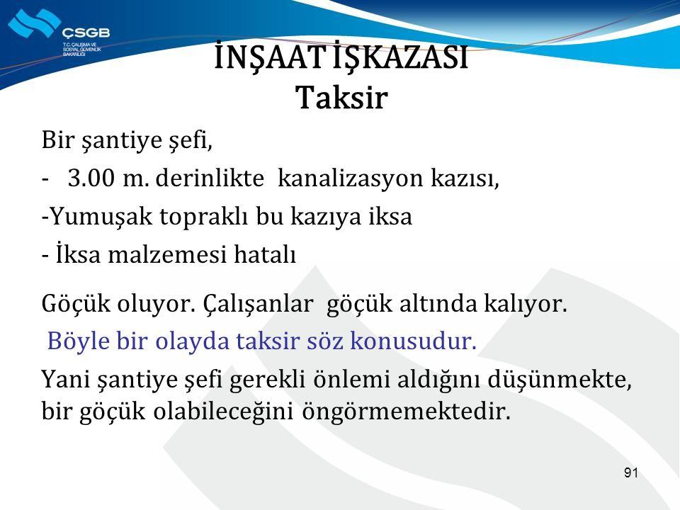 İNŞAAT İŞKAZASI Taksir Bir şantiye şefi, - 3.00 m.