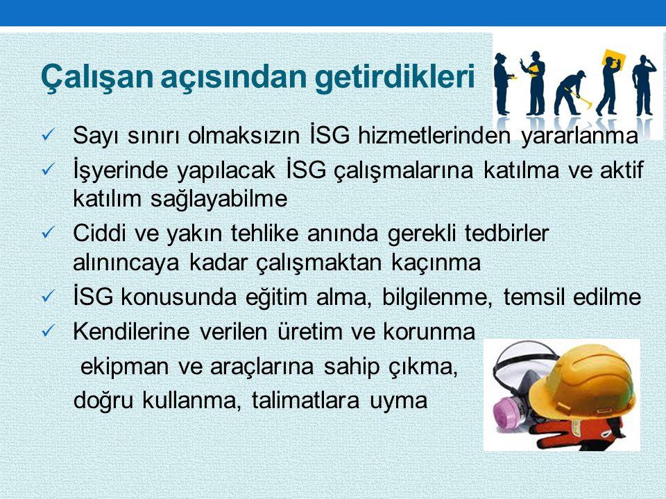 Çalışan açısından getirdikleri Sayı sınırı olmaksızın İSG hizmetlerinden yararlanma İşyerinde yapılacak İSG çalışmalarına katılma ve aktif katılım sağ