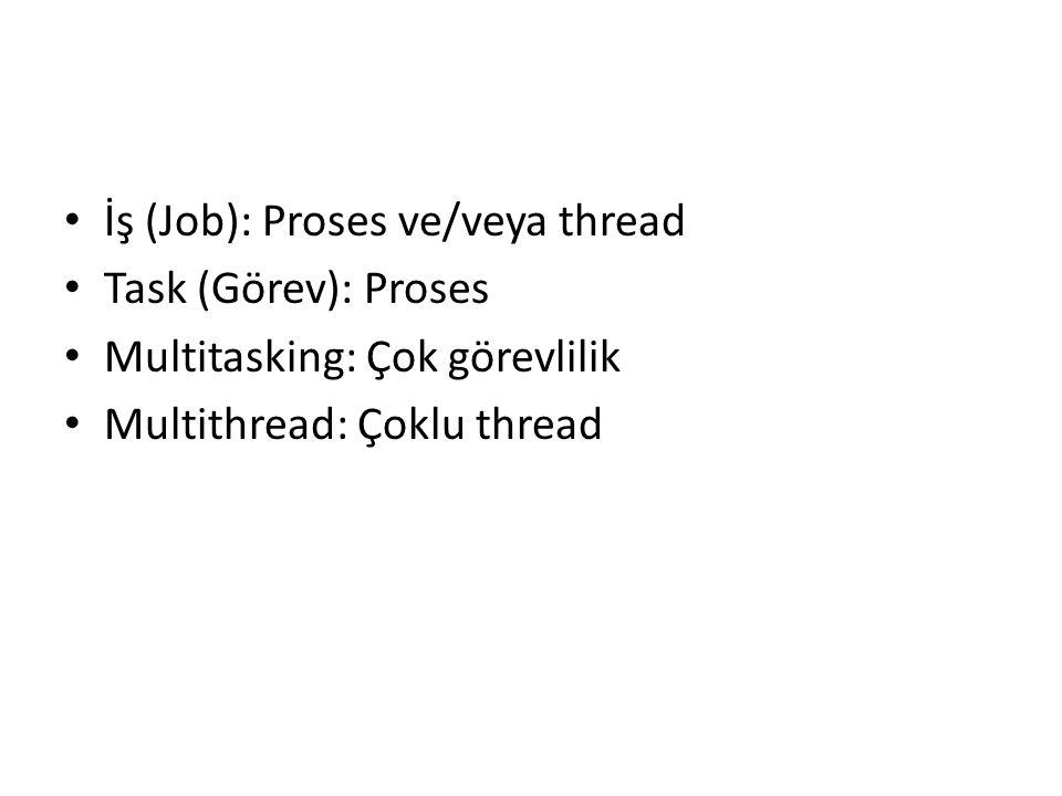 İş (Job): Proses ve/veya thread Task (Görev): Proses Multitasking: Çok görevlilik Multithread: Çoklu thread