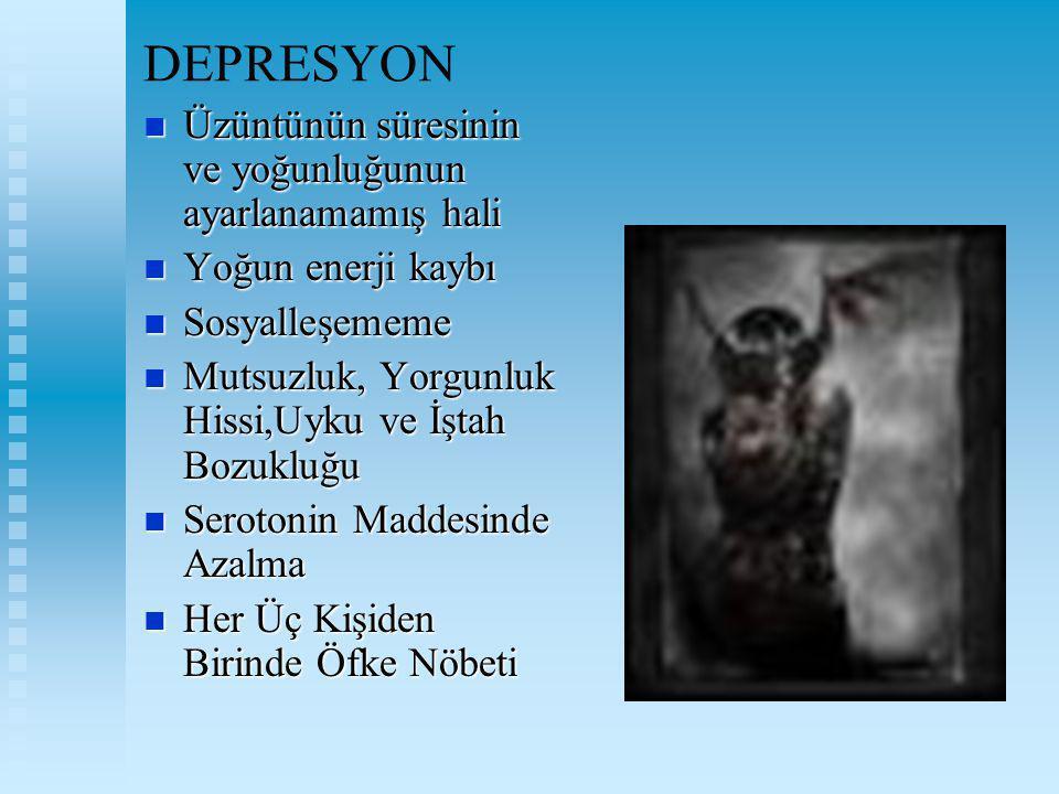 DEPRESYON Üzüntünün süresinin ve yoğunluğunun ayarlanamamış hali Üzüntünün süresinin ve yoğunluğunun ayarlanamamış hali Yoğun enerji kaybı Yoğun enerj