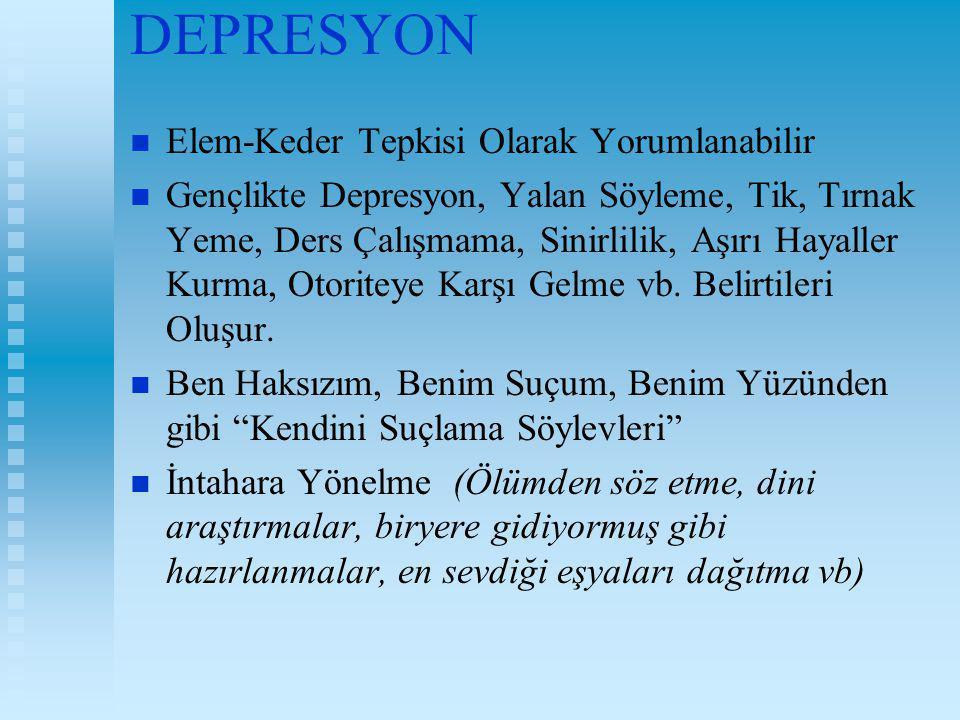 DEPRESYON Elem-Keder Tepkisi Olarak Yorumlanabilir Gençlikte Depresyon, Yalan Söyleme, Tik, Tırnak Yeme, Ders Çalışmama, Sinirlilik, Aşırı Hayaller Ku