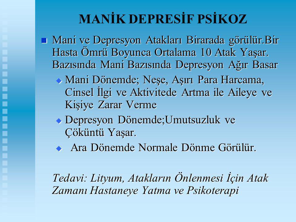 MANİK DEPRESİF PSİKOZ Mani ve Depresyon Atakları Birarada görülür.Bir Hasta Ömrü Boyunca Ortalama 10 Atak Yaşar. Bazısında Mani Bazısında Depresyon Ağ