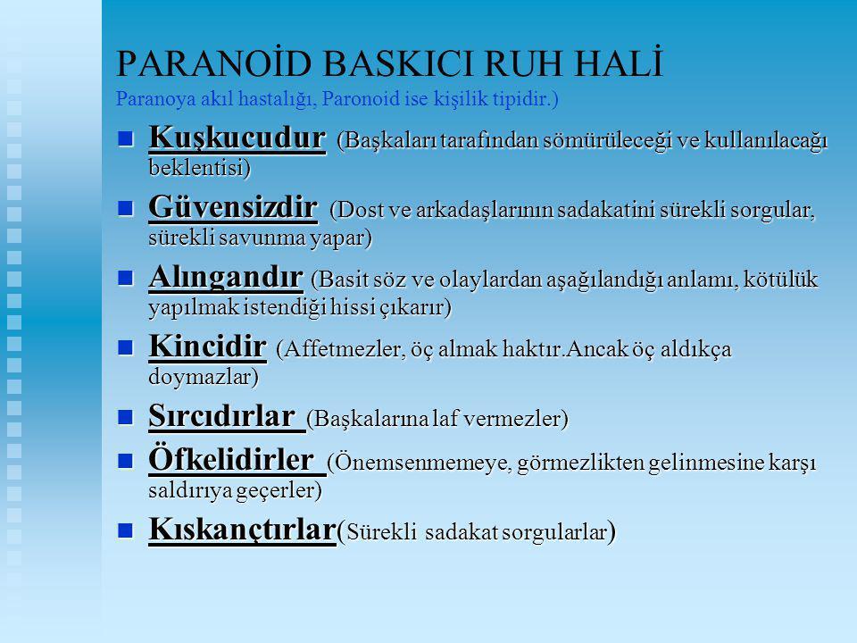 PARANOİD BASKICI RUH HALİ Paranoya akıl hastalığı, Paronoid ise kişilik tipidir.) Kuşkucudur (Başkaları tarafından sömürüleceği ve kullanılacağı bekle