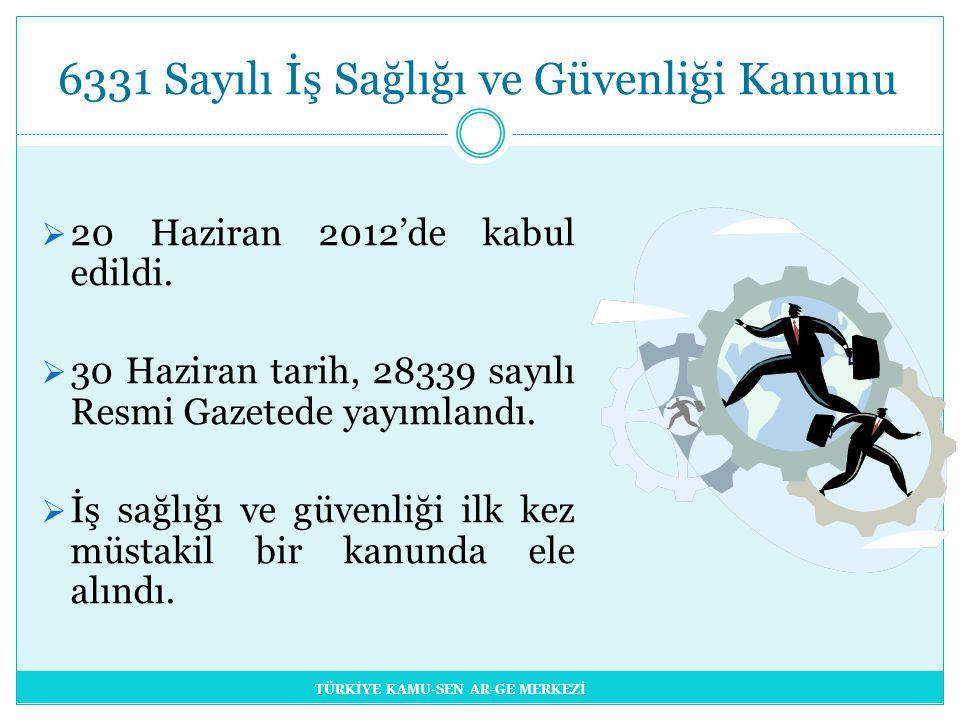 6331 Sayılı İş Sağlığı ve Güvenliği Kanunu  20 Haziran 2012'de kabul edildi.