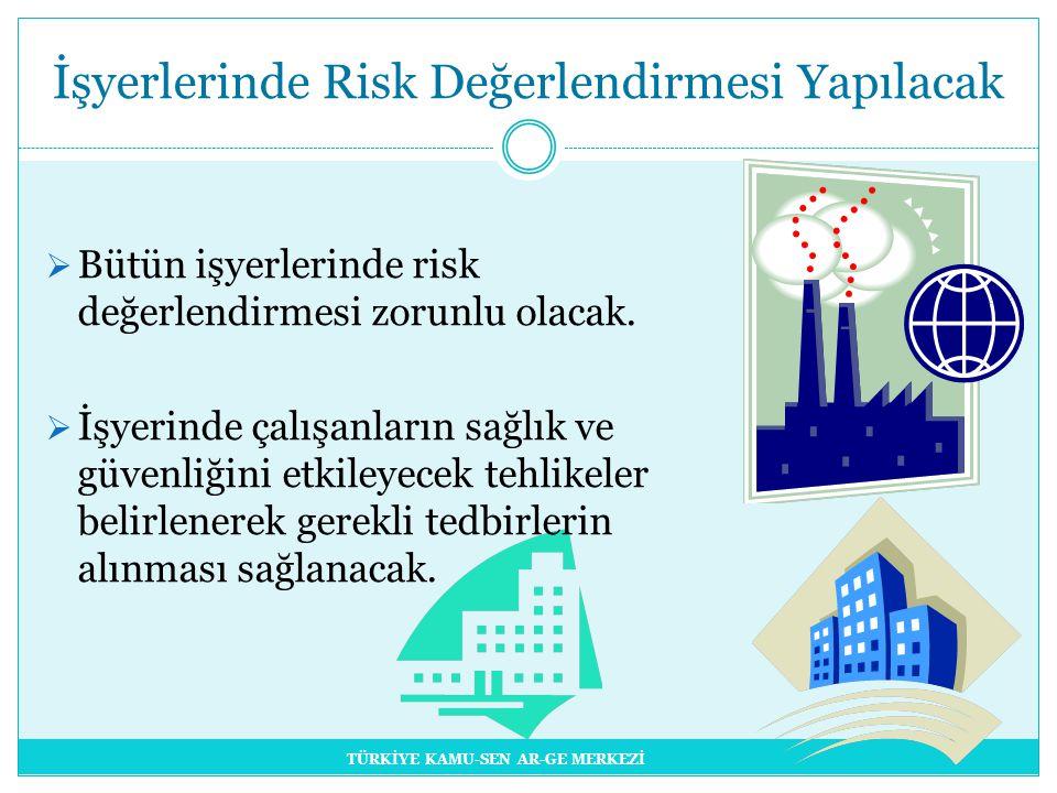  Bütün işyerlerinde risk değerlendirmesi zorunlu olacak.
