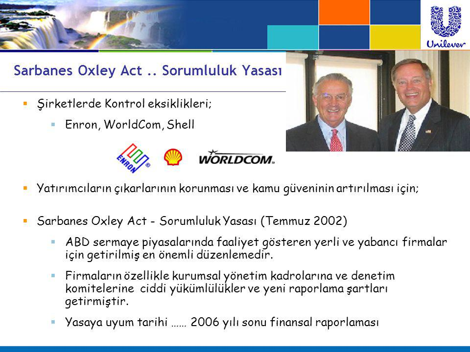  Şirketlerde Kontrol eksiklikleri;  Enron, WorldCom, Shell  Yatırımcıların çıkarlarının korunması ve kamu güveninin artırılması için;  Sarbanes Ox