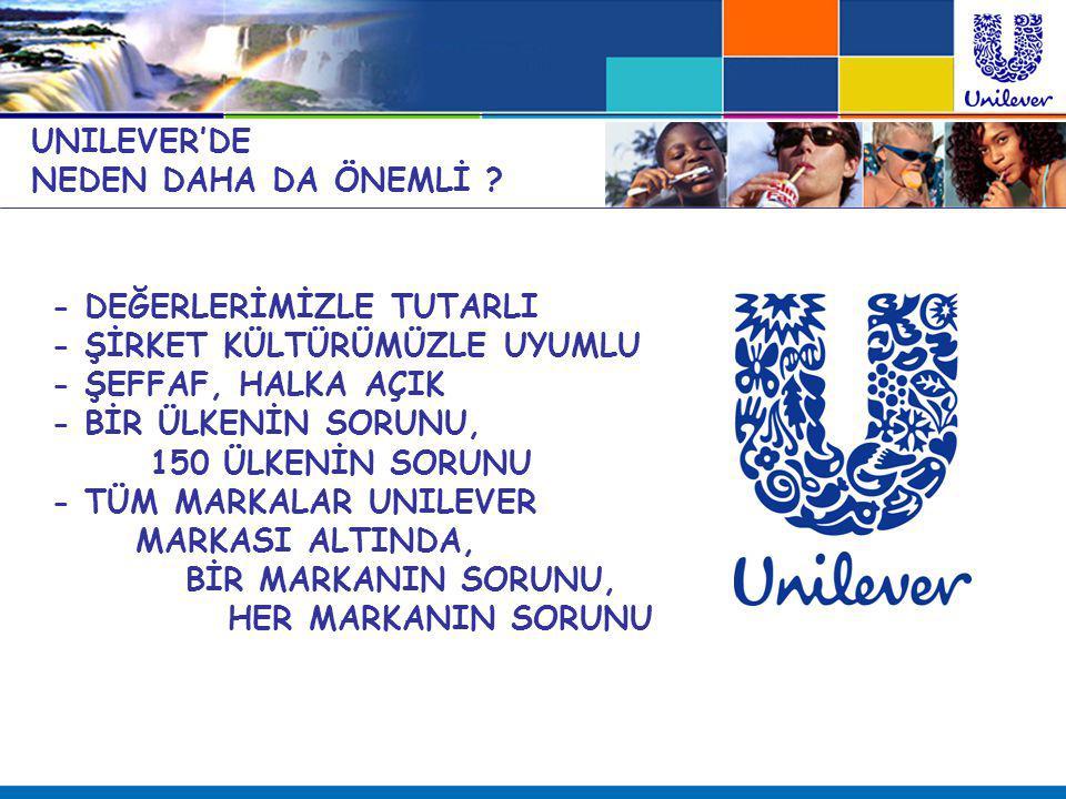 UNILEVER'DE NEDEN DAHA DA ÖNEMLİ ? - DEĞERLERİMİZLE TUTARLI - ŞİRKET KÜLTÜRÜMÜZLE UYUMLU - ŞEFFAF, HALKA AÇIK - BİR ÜLKENİN SORUNU, 150 ÜLKENİN SORUNU
