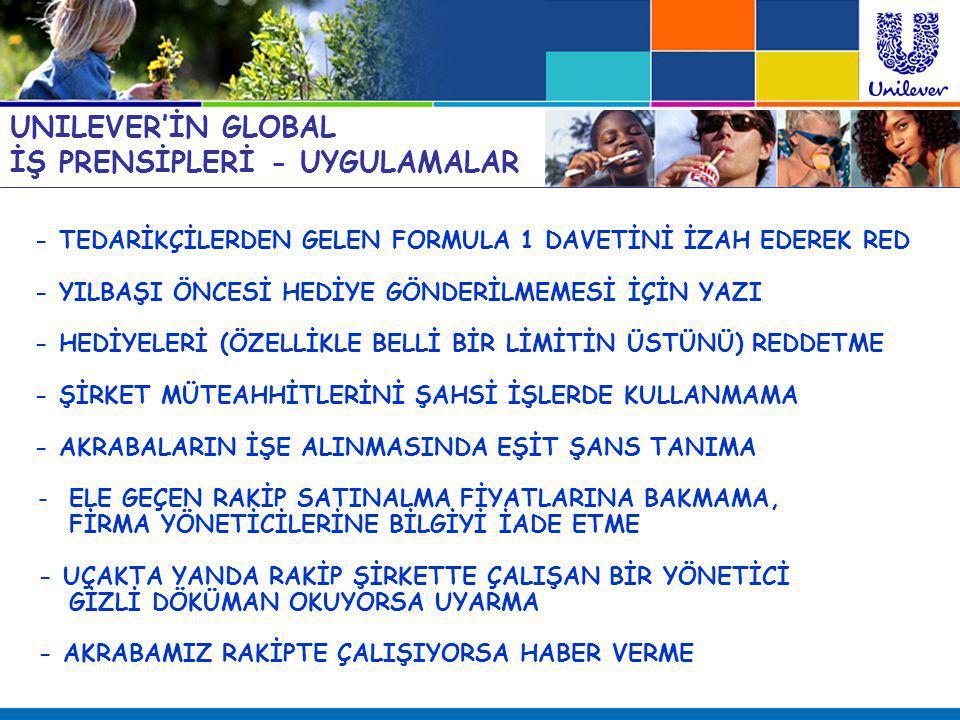 UNILEVER'İN GLOBAL İŞ PRENSİPLERİ - UYGULAMALAR - TEDARİKÇİLERDEN GELEN FORMULA 1 DAVETİNİ İZAH EDEREK RED - YILBAŞI ÖNCESİ HEDİYE GÖNDERİLMEMESİ İÇİN