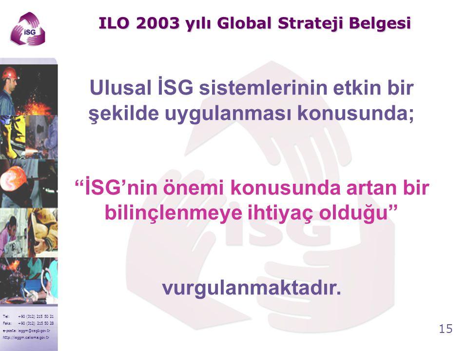 15 Tel: +90 (312) 215 50 21 Faks: +90 (312) 215 50 28 e-posta: isggm@csgb.gov.tr http://isggm.calisma.gov.tr ILO 2003 yılı Global Strateji Belgesi Ulu