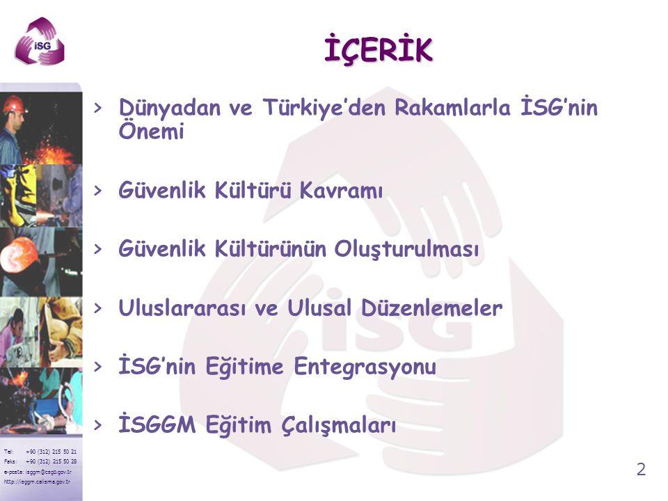 2 Tel: +90 (312) 215 50 21 Faks: +90 (312) 215 50 28 e-posta: isggm@csgb.gov.tr http://isggm.calisma.gov.tr İÇERİK >Dünyadan ve Türkiye'den Rakamlarla
