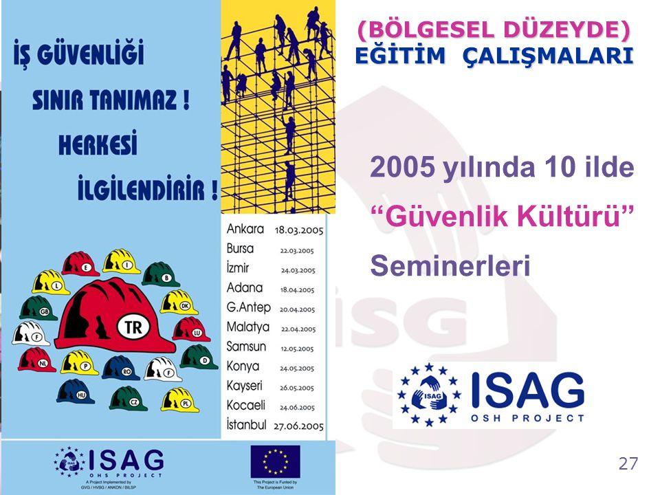 "27 Tel: +90 (312) 215 50 21 Faks: +90 (312) 215 50 28 e-posta: isggm@csgb.gov.tr http://isggm.calisma.gov.tr 2005 yılında 10 ilde ""Güvenlik Kültürü"" S"