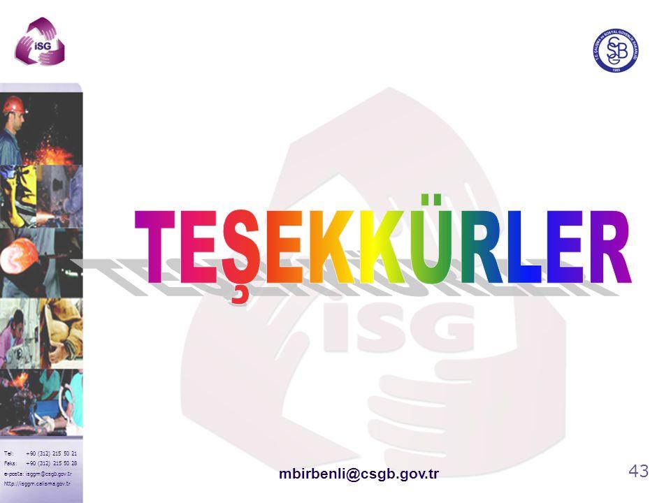43 Tel: +90 (312) 215 50 21 Faks: +90 (312) 215 50 28 e-posta: isggm@csgb.gov.tr http://isggm.calisma.gov.tr mbirbenli@csgb.gov.tr