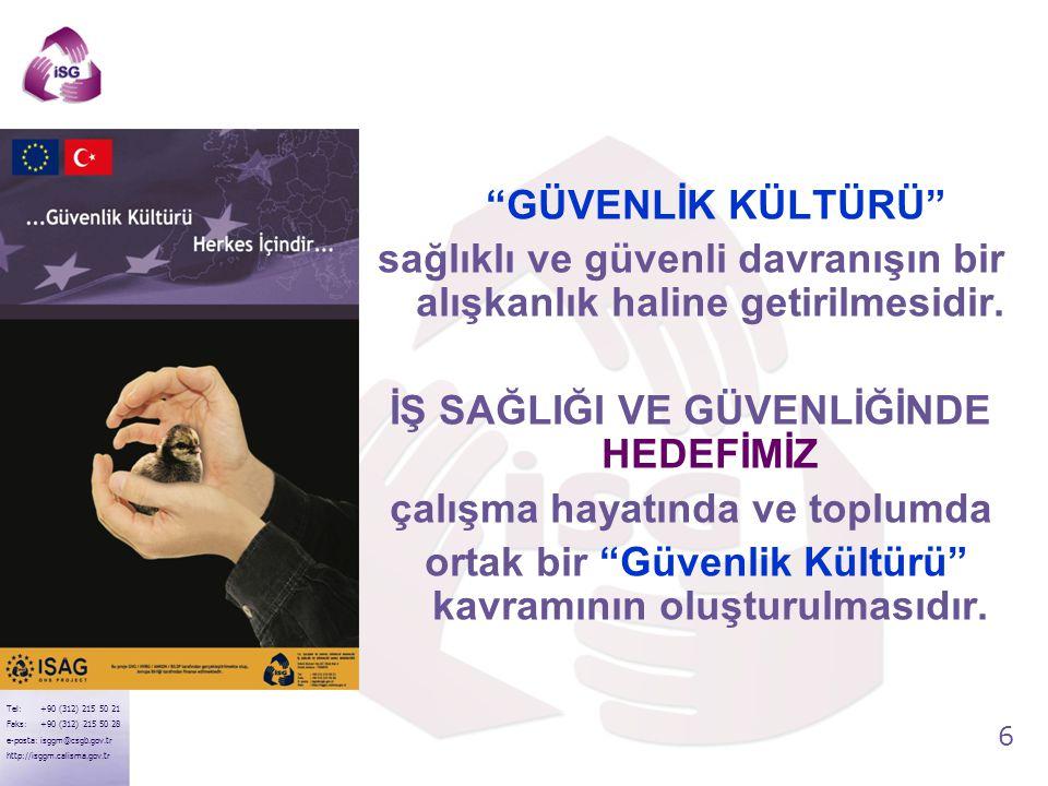 """6 Tel: +90 (312) 215 50 21 Faks: +90 (312) 215 50 28 e-posta: isggm@csgb.gov.tr http://isggm.calisma.gov.tr """"GÜVENLİK KÜLTÜRÜ"""" sağlıklı ve güvenli dav"""
