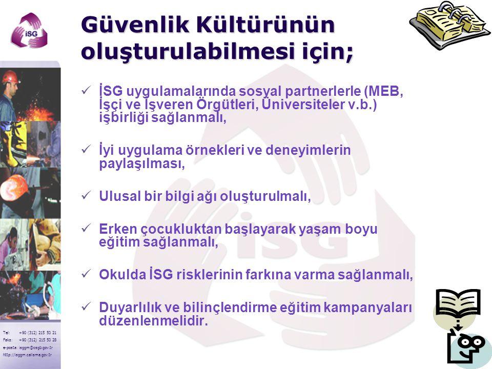 7 Tel: +90 (312) 215 50 21 Faks: +90 (312) 215 50 28 e-posta: isggm@csgb.gov.tr http://isggm.calisma.gov.tr Güvenlik Kültürünün oluşturulabilmesi için