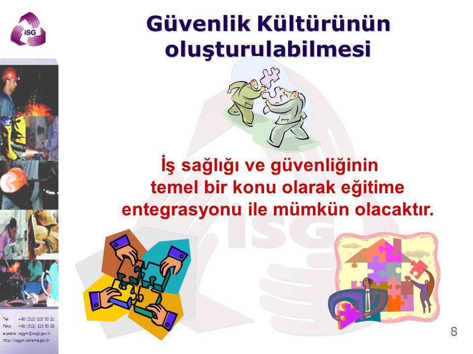 8 Tel: +90 (312) 215 50 21 Faks: +90 (312) 215 50 28 e-posta: isggm@csgb.gov.tr http://isggm.calisma.gov.tr Güvenlik Kültürünün oluşturulabilmesi İş s