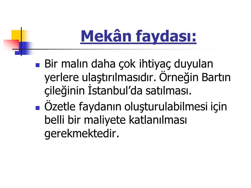 Mekân faydası: Bir malın daha çok ihtiyaç duyulan yerlere ulaştırılmasıdır. Örneğin Bartın çileğinin İstanbul'da satılması. Özetle faydanın oluşturula