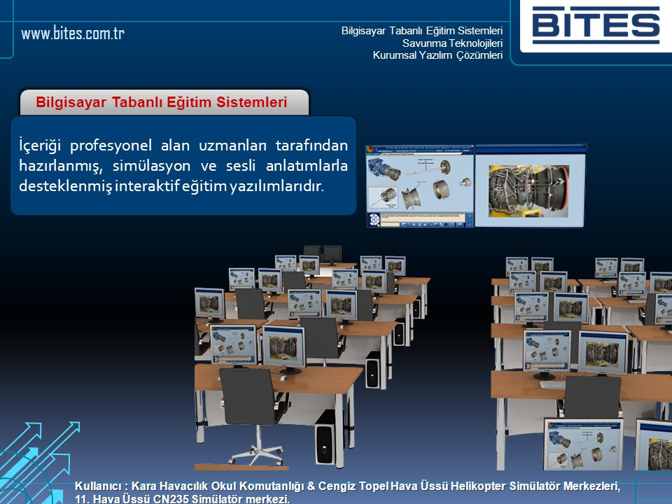 Bilgisayar Tabanlı Eğitim Sistemleri Savunma Teknolojileri Kurumsal Yazılım Çözümleri www.bites.com.tr Gerçek araç/cihaz ve teçhizat yerine; üç boyutlu sanal modeller ile eğitim olarak özetlenebilir.