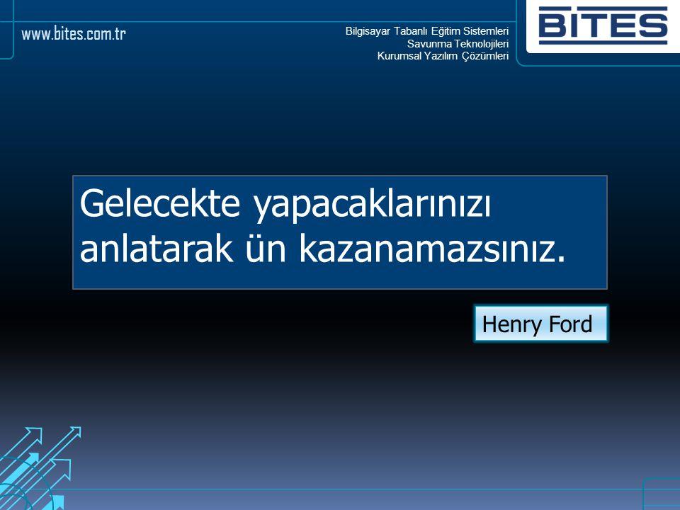 Bilgisayar Tabanlı Eğitim Sistemleri Savunma Teknolojileri Kurumsal Yazılım Çözümleri www.bites.com.tr Gelecekte yapacaklarınızı anlatarak ün kazanama