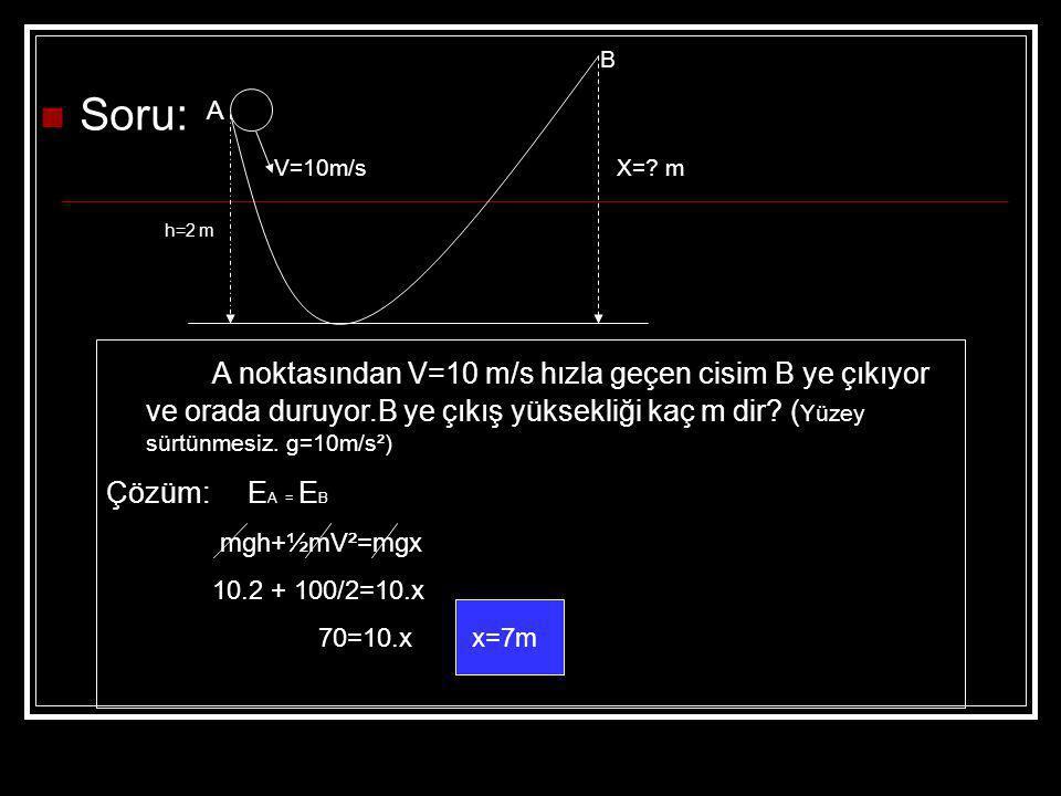 İş ve Enerji birimleri aynıdır. Soru: m=2kg lık bir cisim 20m yükseklikten serbest bırakılıyor.Yere çarptığında hızı ne olur? (g=10m/s² sürtünmeler ön