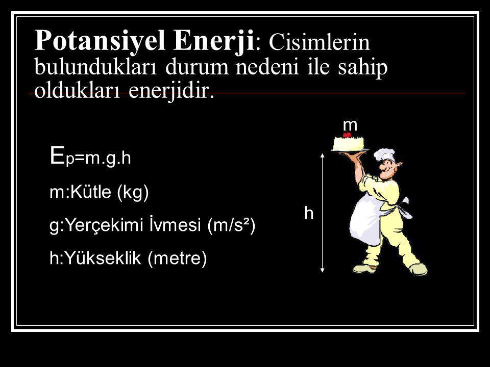 Potansiyel Enerji : Cisimlerin bulundukları durum nedeni ile sahip oldukları enerjidir.