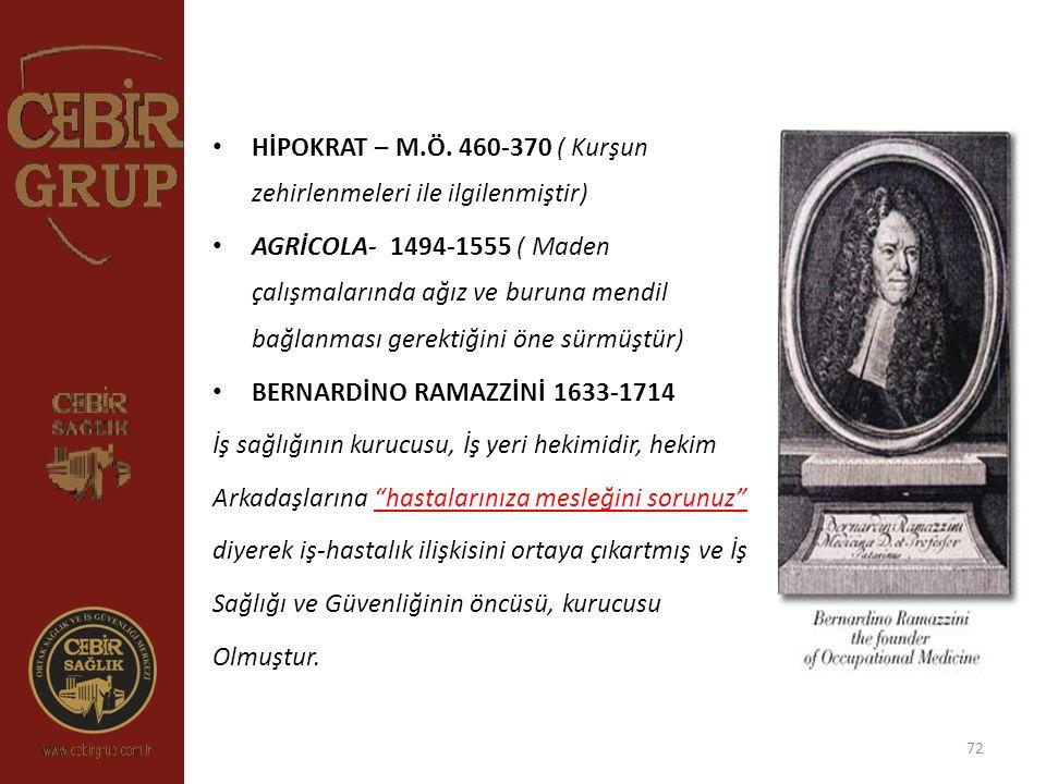 72 HİPOKRAT – M.Ö. 460-370 ( Kurşun zehirlenmeleri ile ilgilenmiştir) AGRİCOLA- 1494-1555 ( Maden çalışmalarında ağız ve buruna mendil bağlanması gere