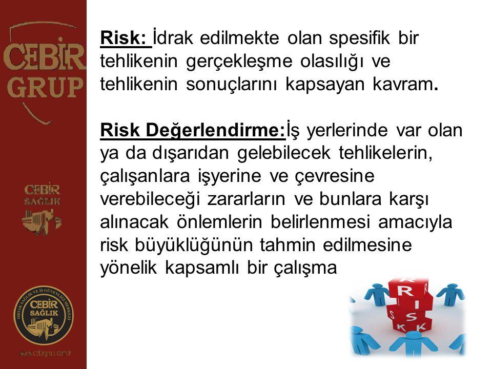 Risk: İdrak edilmekte olan spesifik bir tehlikenin gerçekleşme olasılığı ve tehlikenin sonuçlarını kapsayan kavram. Risk Değerlendirme:İş yerlerinde v