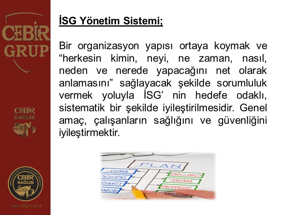"""İSG Yönetim Sistemi; Bir organizasyon yapısı ortaya koymak ve """"herkesin kimin, neyi, ne zaman, nasıl, neden ve nerede yapacağını net olarak anlamasını"""
