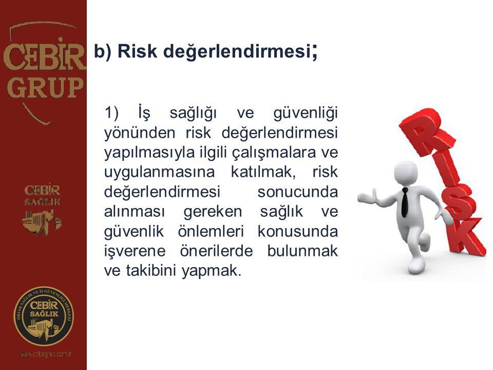 1) İş sağlığı ve güvenliği yönünden risk değerlendirmesi yapılmasıyla ilgili çalışmalara ve uygulanmasına katılmak, risk değerlendirmesi sonucunda alı