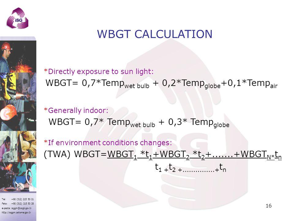 Tel: +90 (312) 215 50 21 Faks: +90 (312) 215 50 28 e-posta: isggm@csgb.gov.tr http://isggm.calisma.gov.tr WBGT CALCULATION *Directly exposure to sun l