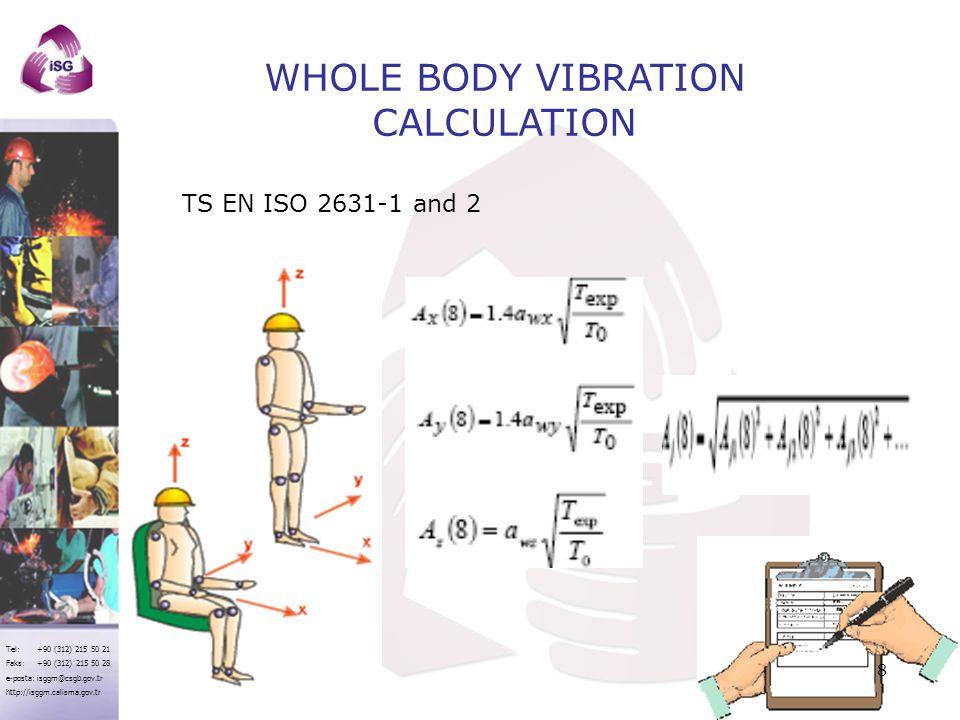 Tel: +90 (312) 215 50 21 Faks: +90 (312) 215 50 28 e-posta: isggm@csgb.gov.tr http://isggm.calisma.gov.tr WHOLE BODY VIBRATION CALCULATION TS EN ISO 2