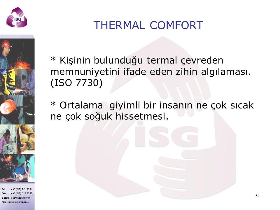 Tel: +90 (312) 215 50 21 Faks: +90 (312) 215 50 28 e-posta: isggm@csgb.gov.tr http://isggm.calisma.gov.tr FACTORS AFFECTING THERMAL COMFORT *ENVIRONMENTAL FACTORS: - Air Temperature - Radiant Temperature - Air flow - Humidity *PERSONAL FACTORS : - Clothing - Metabolic rate 10