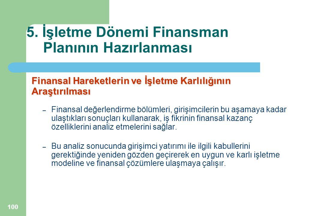 100 5. İşletme Dönemi Finansman Planının Hazırlanması Finansal Hareketlerin ve İşletme Karlılığının Araştırılması – Finansal değerlendirme bölümleri,