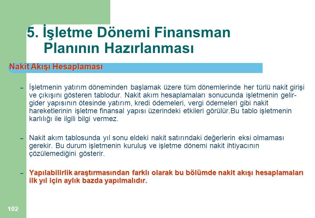 102 5. İşletme Dönemi Finansman Planının Hazırlanması Nakit Akışı Hesaplaması – İşletmenin yatırım döneminden başlamak üzere tüm dönemlerinde her türl