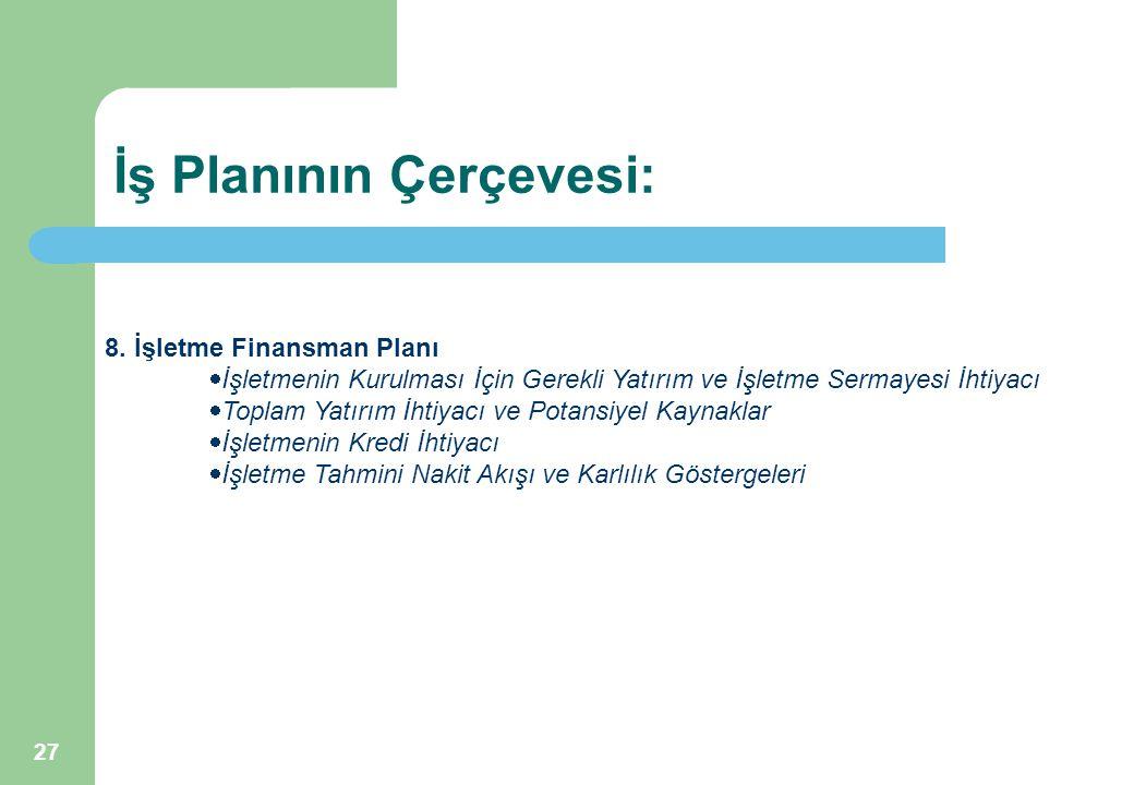 27 8. İşletme Finansman Planı  İşletmenin Kurulması İçin Gerekli Yatırım ve İşletme Sermayesi İhtiyacı  Toplam Yatırım İhtiyacı ve Potansiyel Kaynak