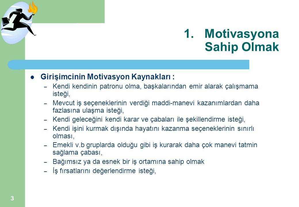 3 1.Motivasyona Sahip Olmak Girişimcinin Motivasyon Kaynakları : – Kendi kendinin patronu olma, başkalarından emir alarak çalışmama isteği, – Mevcut i