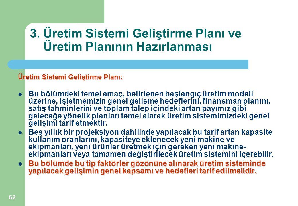62 3. Üretim Sistemi Geliştirme Planı ve Üretim Planının Hazırlanması Üretim Sistemi Geliştirme Planı: Bu bölümdeki temel amaç, belirlenen başlangıç ü