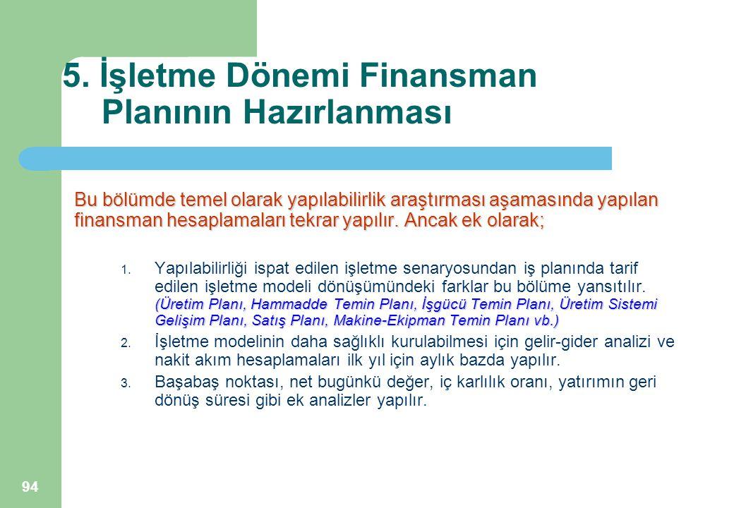 94 5. İşletme Dönemi Finansman Planının Hazırlanması Bu bölümde temel olarak yapılabilirlik araştırması aşamasında yapılan finansman hesaplamaları tek