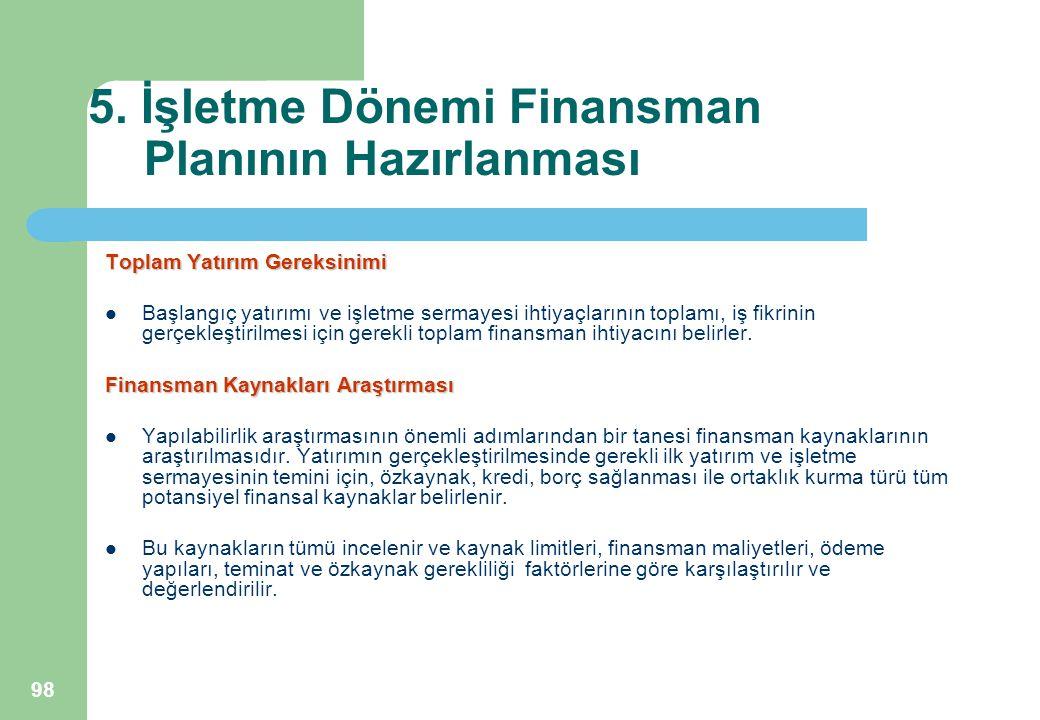 98 5. İşletme Dönemi Finansman Planının Hazırlanması Toplam Yatırım Gereksinimi Başlangıç yatırımı ve işletme sermayesi ihtiyaçlarının toplamı, iş fik