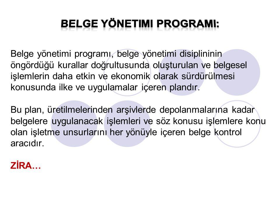 Belge yönetimi programında yer alan diğer bir unsur ise belge yönetimi el kitabı veya rehberidir.